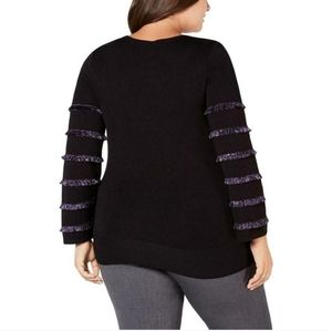 NWOT Alfani 3X Black Knit Top with Purple Sleeves